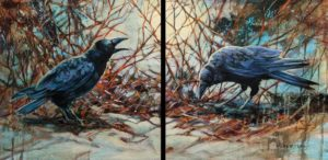 """SOLD """"Moonlight Chorus,"""" by Janice Robertson diptych - each piece 16 x 16 - acrylic $1800 (thick canvas wraps)"""