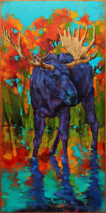 """""""Once in a Blue Moose: Red October,"""" by Angie Rees 12 x 24 - acrylic $1350 (unframed panel with 1 1/2"""" edges)"""