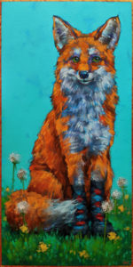 """""""That Confident Smile When Your Socks Are in Style,"""" by Angie Rees 10 x 20 - acrylic $1150 (unframed panel with 1 1/2"""" edges)"""