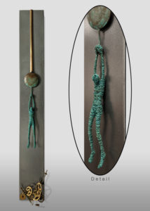 """""""When Time Stood Still,"""" by Janis Woode Plate steel, wrapped copper wire, vintage clock pieces 31 1/2"""" (L) x 4"""" (W) x 2 1/2"""" (H) $3100"""