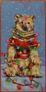 """SOLD """"The Annual Ugly Christmas Sweater,"""" by Angie Rees 6 x 12 - acrylic $450 (unframed panel with 1 1/2″ edges)"""