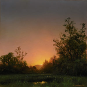 """SOLD """"August Rise,"""" by Renato Muccillo 8 x 8 (on 9 x 9 panel) - oil $2750 Custom framed"""