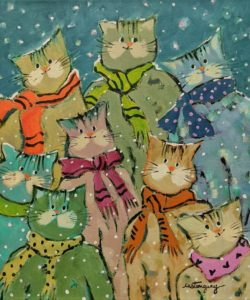 """SOLD """"The Cats Ready for a Cold Day,"""" by Claudette Castonguay 10 x 12 - acrylic $390 Unframed"""