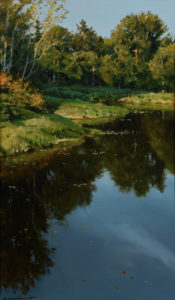 """SOLD """"Confluence in October (Study),"""" by Renato Muccillo 4 1/2 x 7 1/2 - oil on paper $1500 Custom framed"""