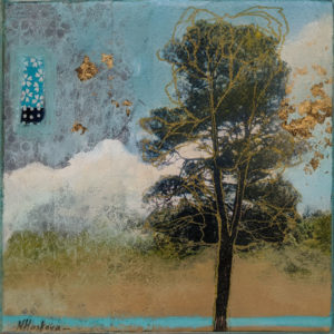 """SOLD """"Cotton Candy,"""" by Nikol Haskova 6 x 6 – mixed media, high-gloss finish $400 (unframed thick panel with raw wood edge)"""