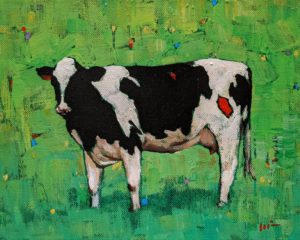 """""""Cow with Green,"""" by Min Ma 8 x 10 - acrylic $845 Unframed"""