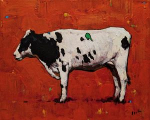 """""""Cow with Red,"""" by Min Ma 8 x 10 - acrylic $845 Unframed"""