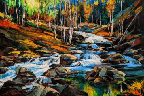 """SOLD """"Down to Falls,"""" by David Langevin 20 x 30 - acrylic $2350 Unframed"""