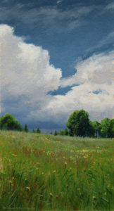 """SOLD """"Fields of May (Study),"""" by Renato Muccillo 3 1/4 x 6 - oil on paper $1200 Custom framed"""