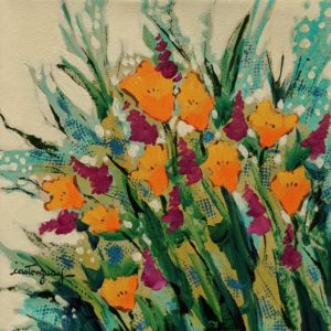 """SOLD """"The Flowers of the Last Season,"""" by Claudette Castonguay 8 x 8 - acrylic $260 Unframed"""