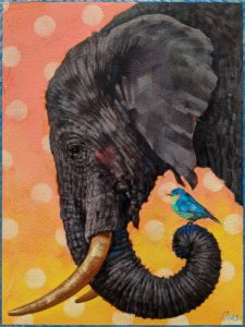 """SOLD """"A Friend is a Friend No Matter How Small,"""" by Angie Rees 9 x 12 - acrylic $650 (unframed panel with 1 1/2″ edges)"""