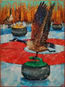"""""""Oh Canada: Great Lake Bonspiel,"""" by Angie Rees 12 x 16 - acrylic $1075 (unframed panel with 1 1/2″ edges)"""