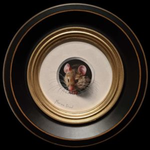 """SOLD """"Petite Souris 419,″ (Little Mouse 419) by Marina Dieul 4"""" diameter plus frame (shown) – oil USD $900 Framed (approx. $1200 CAD Framed)"""