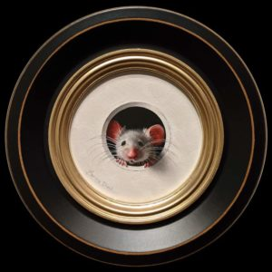 """SOLD """"Petite Souris 420,″ (Little Mouse 420) by Marina Dieul 4"""" diameter plus frame (shown) – oil USD $900 Framed (approx. $1200 CAD Framed)"""