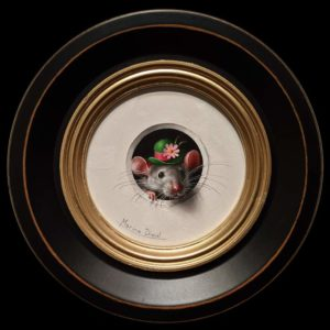 """SOLD """"Petite Souris 432,″ (Little Mouse 432) by Marina Dieul 4"""" diameter plus frame (shown) – oil USD $900 Framed (approx. $1200 CAD Framed)"""