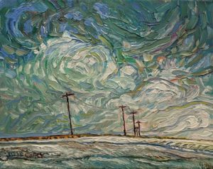 """SOLD """"Poles and Soft Snow,"""" by Steve Coffey 7 x 9 - oil $660 Unframed"""