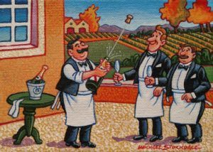 """SOLD """"Popping the Cork,"""" by Michael Stockdale 5 x 7 - acrylic $265 Unframed"""