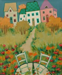 """SOLD """"Rendezvous,"""" by Claudette Castonguay 10 x 12 - acrylic $390 Unframed"""
