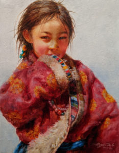 """SOLD """"Reticent,"""" by Donna Zhang 14 x 18 - oil $2190 Unframed"""