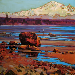 "SOLD ""Semiahmoo Bay to Mt. Baker,"" by Mike Svob 30 x 30 - acrylic $5260 (thick canvas wrap)"