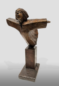 """""""She Dreamt She Could Fly Again,'"""" by Michael Hermesh 14"""" (H) x 6 1/2"""" (L) x 8"""" (W) - bronze No. 2 of edition of 15 $4000"""