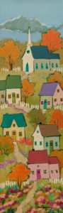 """SOLD """"The Small Village,"""" by Claudette Castonguay 6 x 20 - acrylic $390 Unframed"""