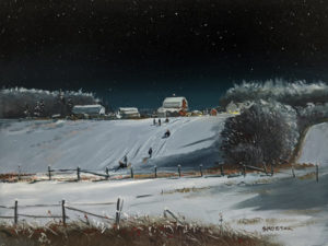 """SOLD """"They went to the neighbour's hill,"""" by Peter Shostak 9 x 12 - oil $1400 Unframed"""