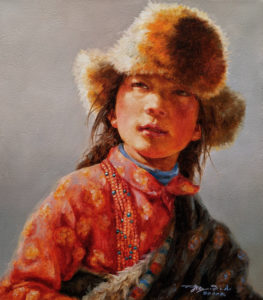 """SOLD """"Thinking Ahead,"""" by Donna Zhang 14 x 16 - oil $1975 Unframed"""
