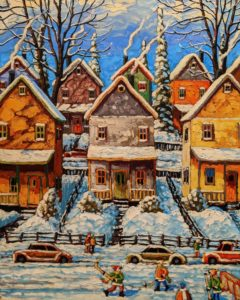 """SOLD """"Two Stories, With Veranda,"""" by Rod Charlesworth 24 x 30 - oil $2890 (thick canvas wrap)"""