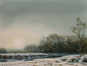 """SOLD """"Winter Ambience,"""" by Renato Muccillo 6 x 8 (on 7 x 9 panel) - oil $2350 Custom framed"""