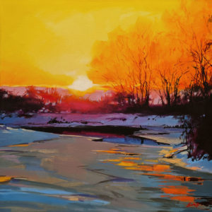 """SOLD """"Winter Sunset on the Little Campbell River,"""" by Mike Svob 20 x 20 - acrylic $2680 (thick canvas wrap)"""