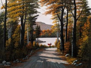 """""""Autumn on the Lake,"""" by Bill Saunders 18 x 24 - acrylic $2600 Unframed"""