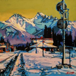 """SOLD """"The Banff Train Station,"""" by Mike Svob 10 x 10 - acrylic $800 Unframed"""