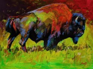 """SOLD """"A Bison From Liard River,"""" by Mike Svob 12 x 16 - acrylic $1415 Unframed"""