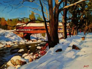 """Covered Bridge, New Hampshire,"" by Mike Svob 12 x 16 - acrylic $1415 Unframed"