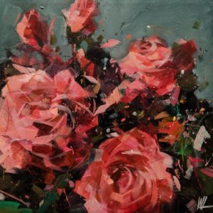 """SOLD """"Eden No. 14,"""" by William Liao 12 x 12 - acrylic $635 (artwork continues onto edges of wide canvas wrap)"""