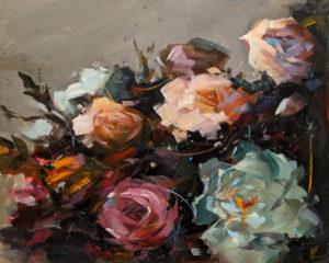 """SOLD """"Feast of Flowers,"""" by William Liao 16 x 20 - acrylic $1235 Unframed"""