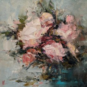 """SOLD """"Flush with Fragrance,"""" by William Liao 12 x 12 - oil $635 (thick canvas wrap)"""