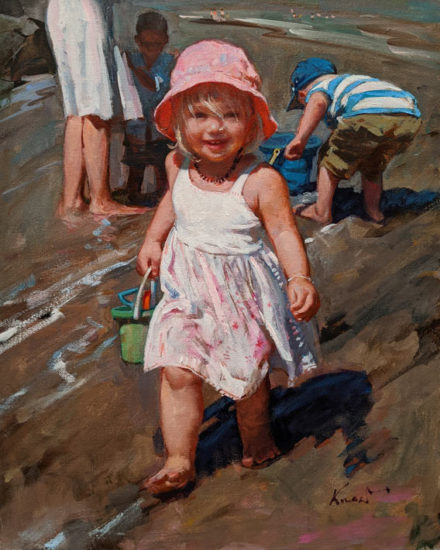 """Summer Fun at the Beach,"" by Clement Kwan 16 x 20 - oil $3400 Unframed"