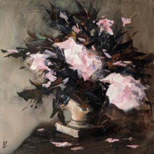 """SOLD """"Gently Falling,"""" by William Liao 12 x 12 - oil $635 (thick canvas wrap)"""