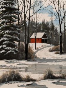 """SOLD """"Ice and Snow,"""" by Bill Saunders 6 x 8 - acrylic $500 Unframed"""