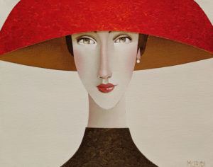 """SOLD """"Julia in the Red Hat,"""" by Danny McBride 11 x 14 - acrylic $975 (thick canvas wrap)"""
