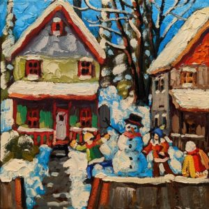 """SOLD """"Kids From the Hood,"""" by Rod Charlesworth 8 x 8 - oil $650 Unframed"""
