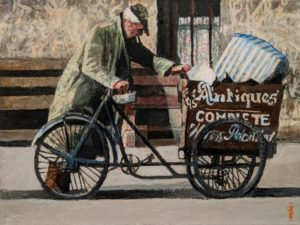 """SOLD """"Potential Buyer"""" by Alan Wylie 9 x 12 - oil $1750 Unframed"""