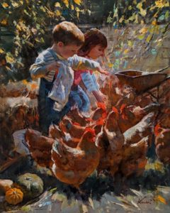"SOLD ""Snack Time,"" by Clement Kwan 16 x 20 - oil $3400 Unframed"