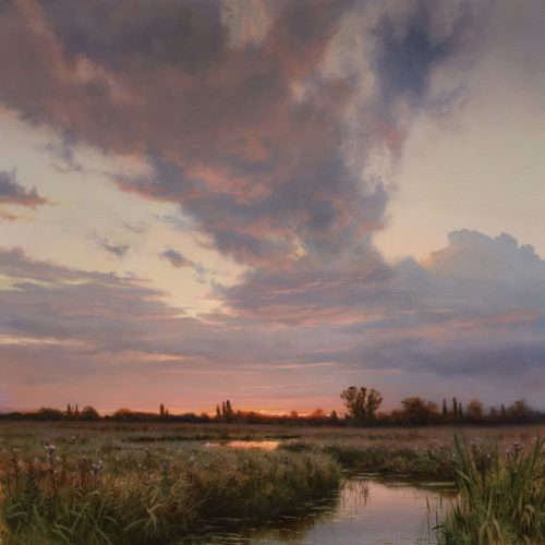 """SOLD """"Wetlands in August,"""" by Renato Muccillo 23 x 23 - oil $8300 Custom framed"""