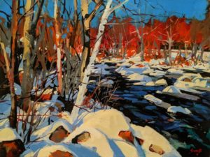 """SOLD """"Winter River,"""" by Mike Svob 12 x 16 - acrylic $1415 Unframed"""