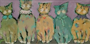 """SOLD """"The Charming Cats,"""" by Claudette Castonguay 6 x 12 - acrylic $310 Unframed"""