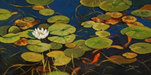 """SOLD """"Pond Life,"""" by Janice Robertson 18 x 36 - acrylic $2075 (thick canvas wrap)"""