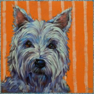 """SOLD """"Subwoofer,"""" by Angie Rees 10 x 10 - acrylic $675 (unframed panel with 1 1/2"""" edges)"""